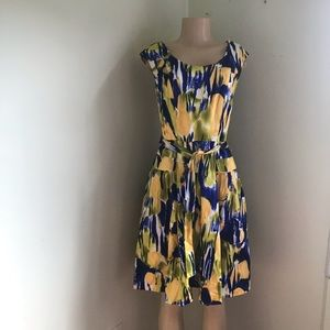Calvin Klein abstract floral flared  ruched dress